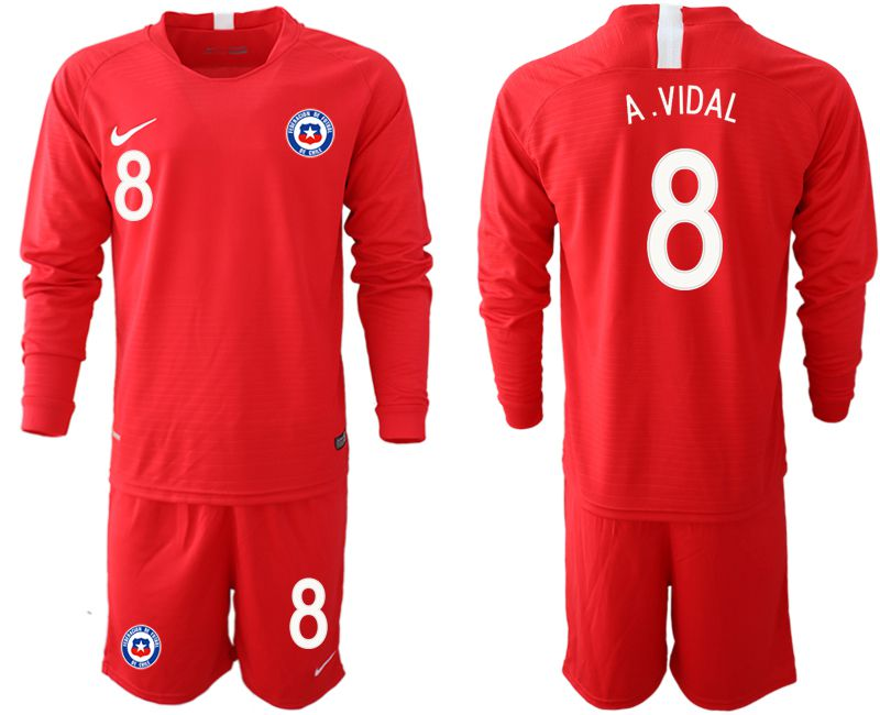 Men 2018-2019 National Team Chile home long sleeve 8 red Soccer Jerseys