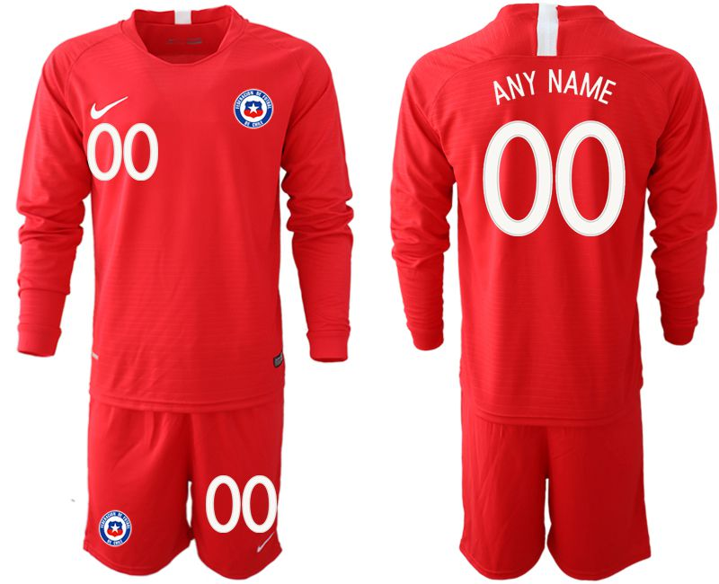 Men 2018-2019 National Team Chile home long sleeve customized red Soccer Jerseys