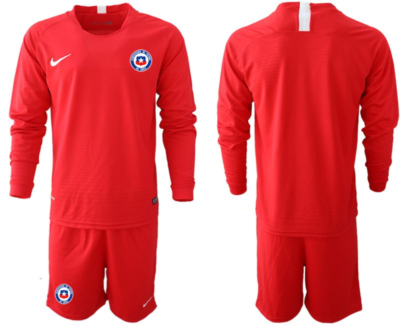 Men 2018-2019 National Team Chile home long sleeve red Soccer Jerseys