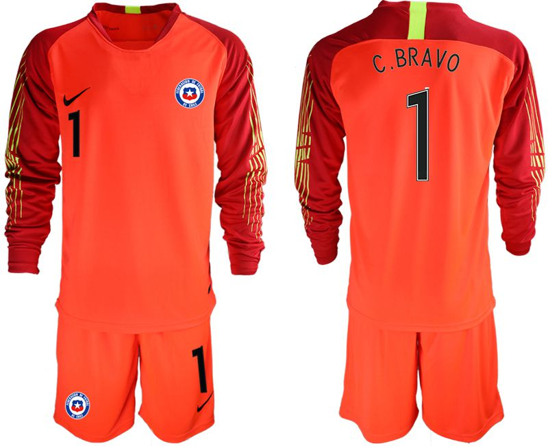 Men 2018-2019 National Team Chile red goalkeeper long sleeve 1 Soccer Jerseys
