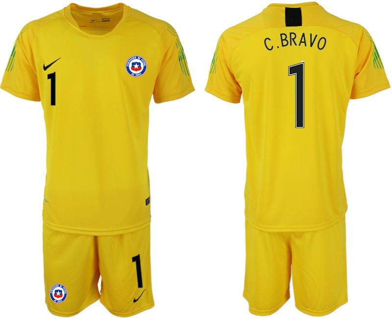 Men 2018-2019 National Team Chile yellow goalkeeper 1 Soccer Jerseys