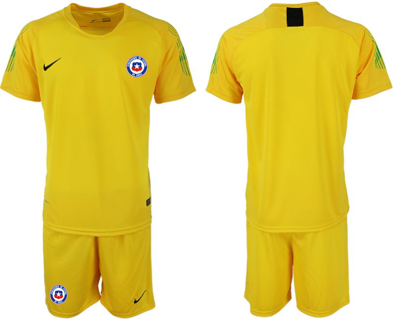 Men 2018-2019 National Team Chile yellow goalkeeper Soccer Jerseys