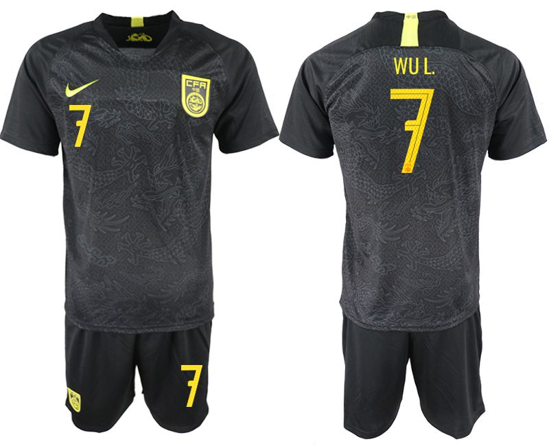 Men 2018-2019 National Team China away 7 black Soccer Jerseys