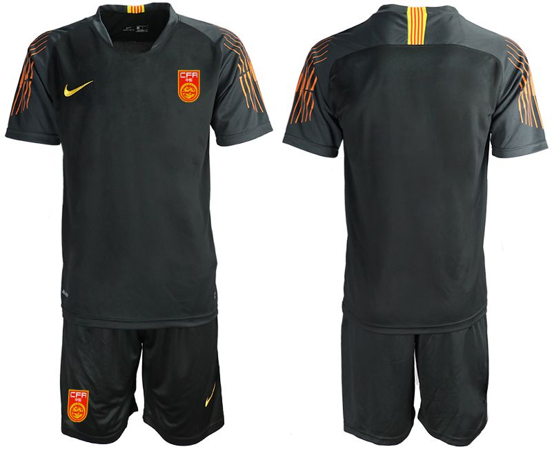 Men 2018-2019 National Team China black goalkeeper Soccer Jerseys