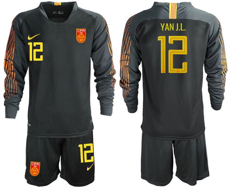 Men 2018-2019 National Team China black long sleeve goalkeeper 12 Soccer Jerseys