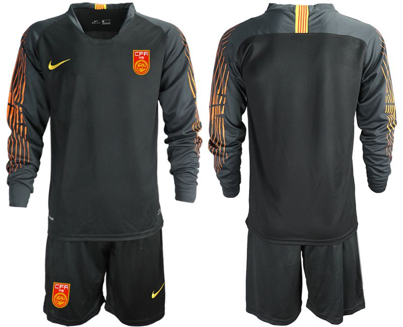 Men 2018-2019 National Team China black long sleeve goalkeeper Soccer Jerseys