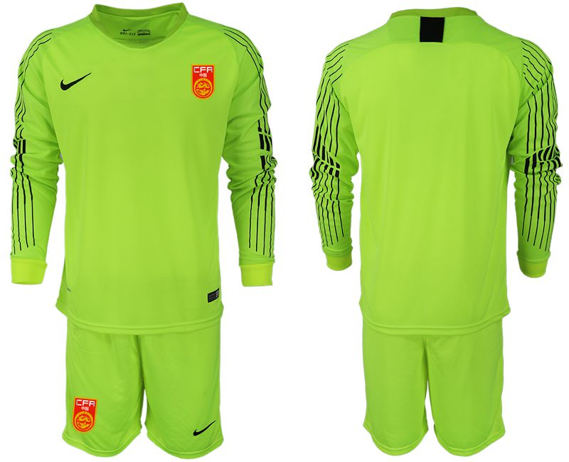 Men 2018-2019 National Team China fluorescent green long sleeve goalkeeper Soccer Jerseys