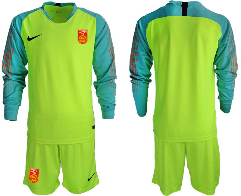 Men 2018-2019 National Team China fluorescent green long sleeve goalkeeper Soccer Jerseys1