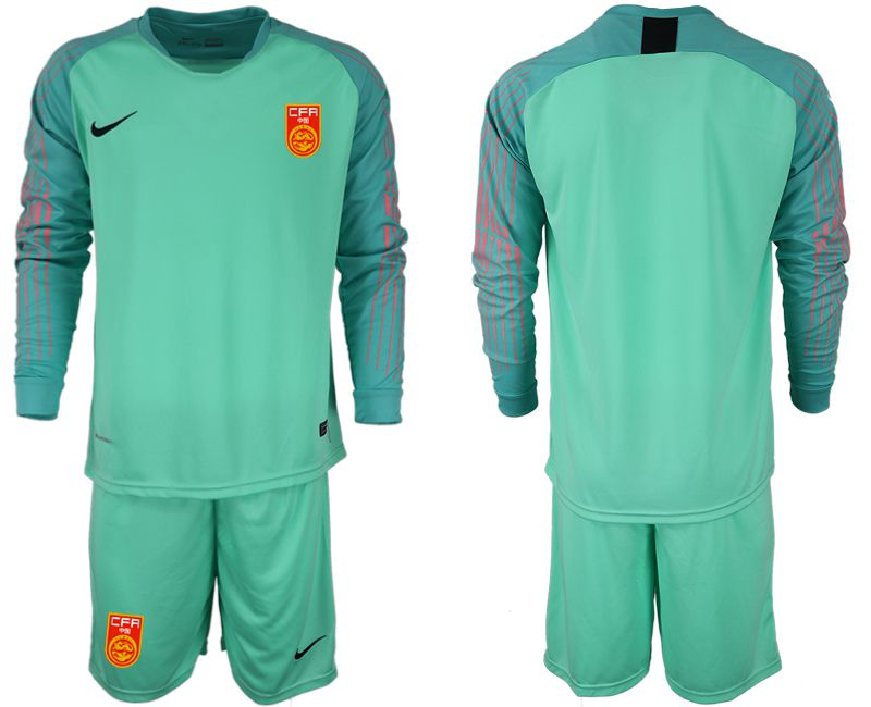Men 2018-2019 National Team China green goalkeeper long sleeve Soccer Jerseys