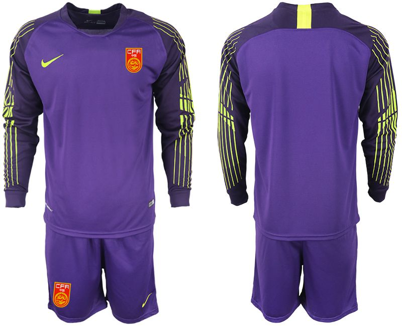 Men 2018-2019 National Team China purple goalkeeper long sleeve Soccer Jerseys