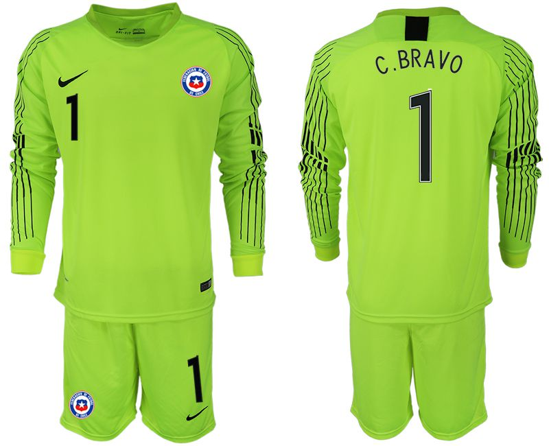 Men 2018-2019 National Team chile fluorescent green long sleeve goalkeeper 1 Soccer Jerseys1