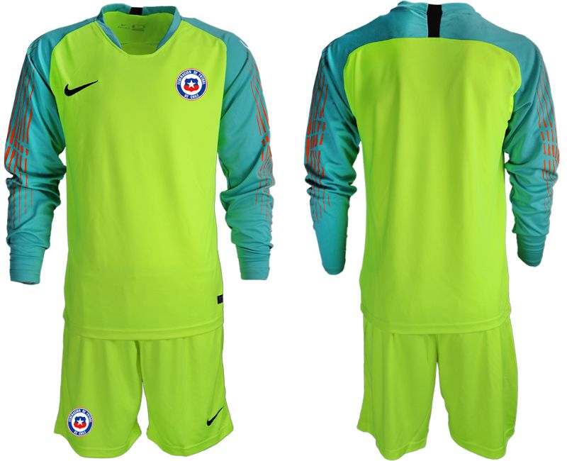 Men 2018-2019 National Team chile fluorescent green long sleeve goalkeeper Soccer Jerseys