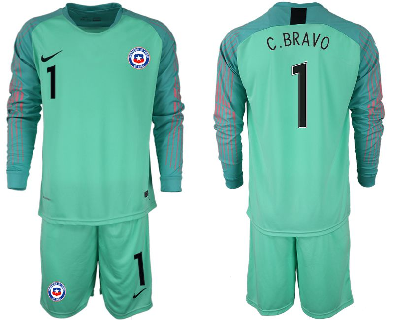 Men 2018-2019 National Team chile green goalkeeper long sleeve 1 Soccer Jerseys