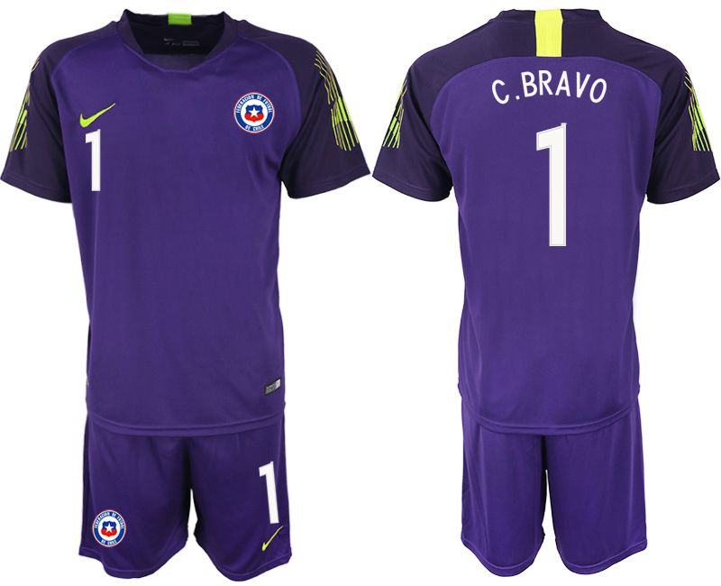 Men 2018-2019 National Team chile purple goalkeeper 1 Soccer Jerseys