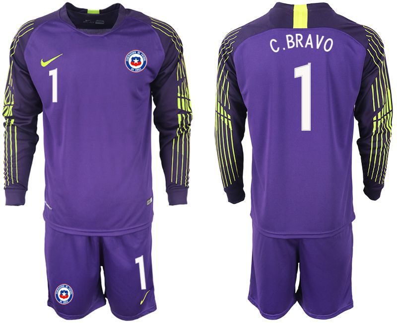 Men 2018-2019 National Team chile purple goalkeeper long sleeve 1 Soccer Jerseys
