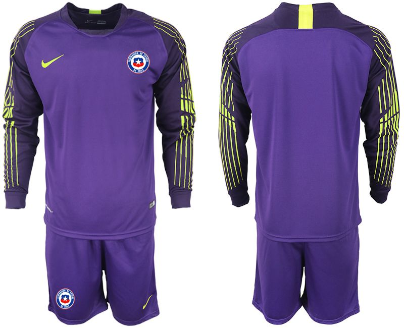 Men 2018-2019 National Team chile purple goalkeeper long sleeve Soccer Jerseys