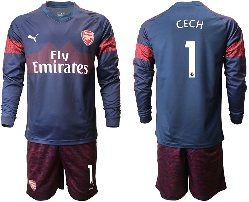 Men 2018-2019 club Arsenal away long sleeve 1 blue Soccer Jerseys