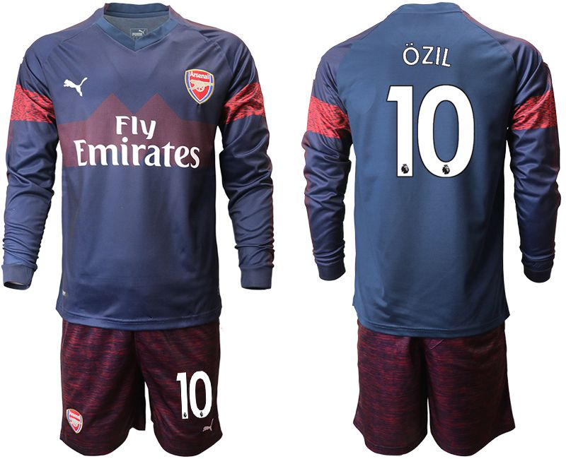 Men 2018-2019 club Arsenal away long sleeve 10 blue Soccer Jerseys