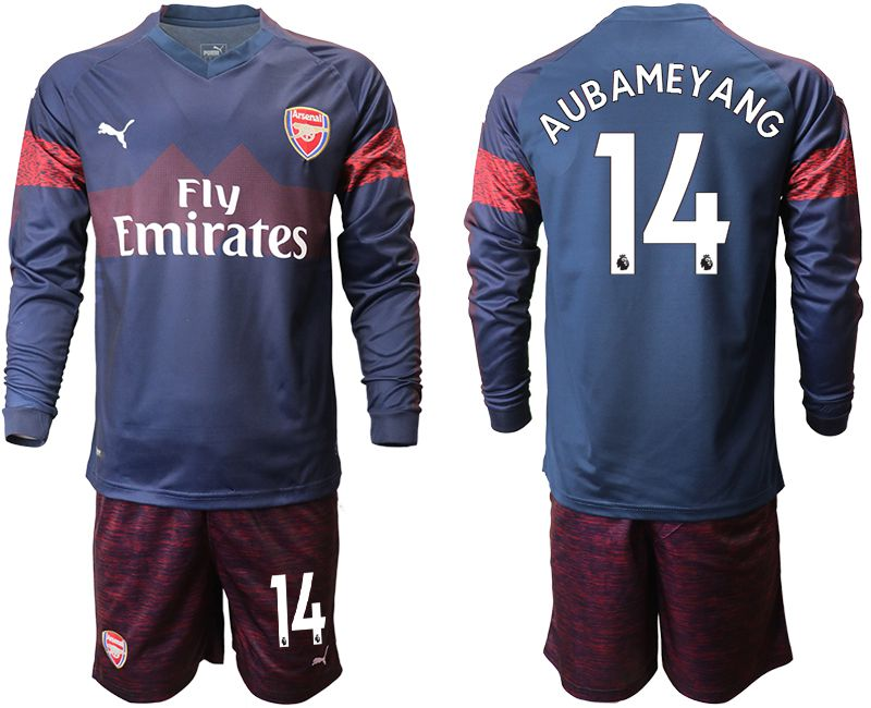 Men 2018-2019 club Arsenal away long sleeve 14 blue Soccer Jerseys