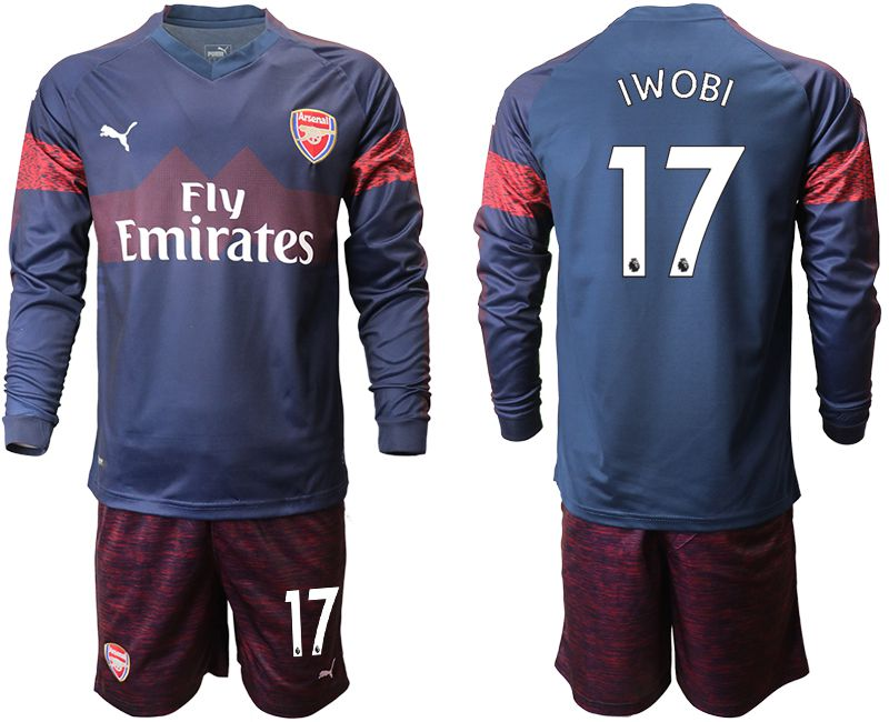 Men 2018-2019 club Arsenal away long sleeve 17 blue Soccer Jerseys