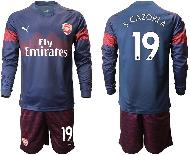 Men 2018-2019 club Arsenal away long sleeve 19 blue Soccer Jerseys