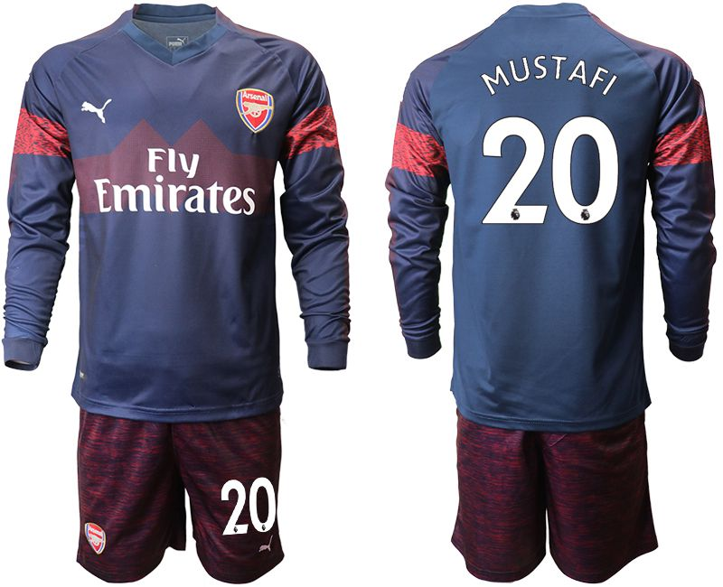 Men 2018-2019 club Arsenal away long sleeve 20 blue Soccer Jerseys