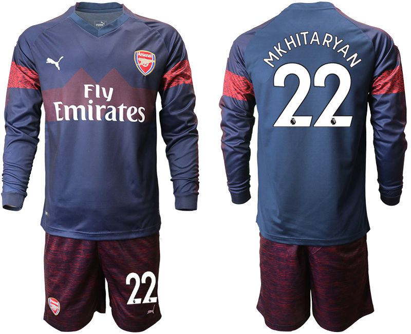 Men 2018-2019 club Arsenal away long sleeve 22 blue Soccer Jerseys