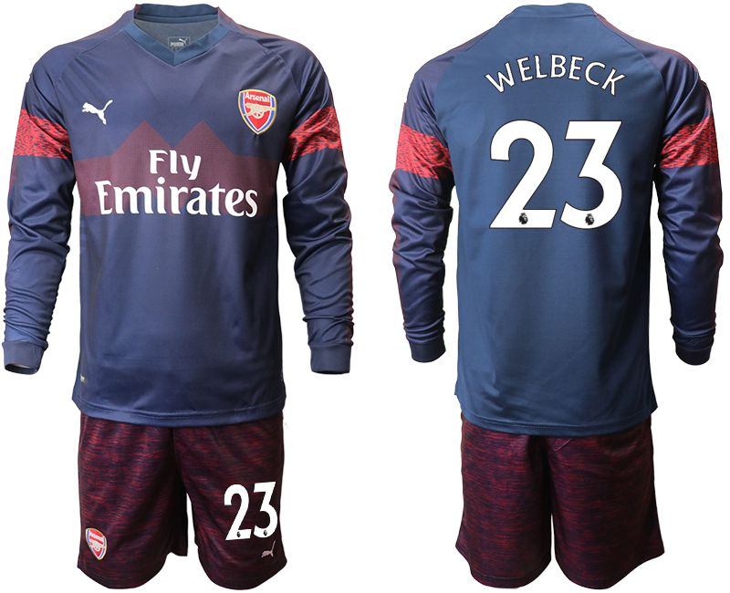 Men 2018-2019 club Arsenal away long sleeve 23 blue Soccer Jerseys