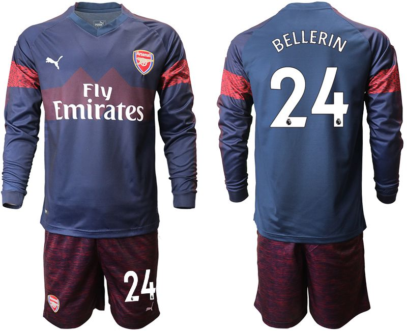 Men 2018-2019 club Arsenal away long sleeve 24 blue Soccer Jerseys