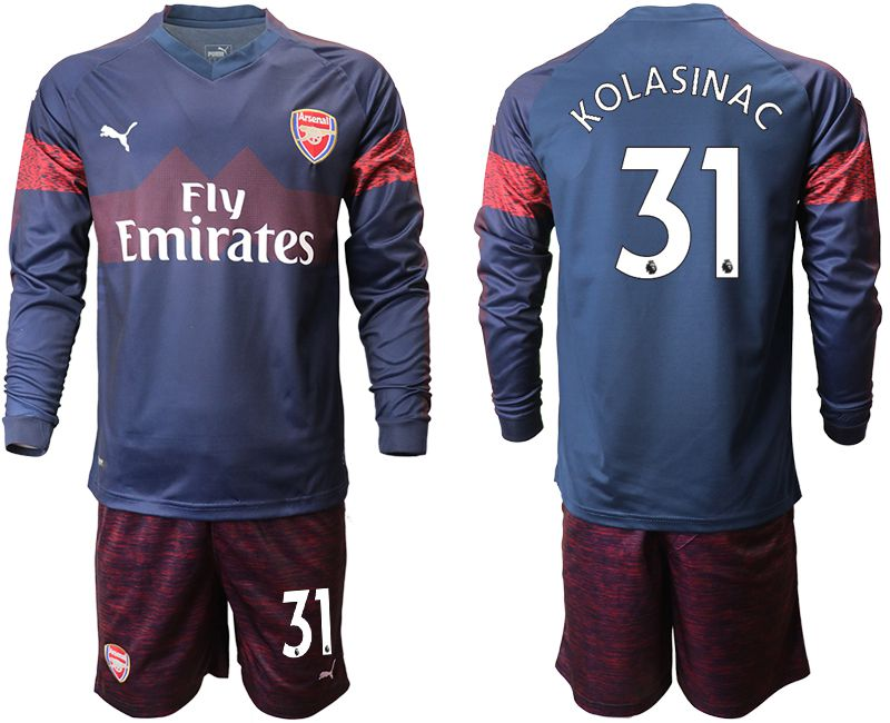 Men 2018-2019 club Arsenal away long sleeve 31 blue Soccer Jerseys