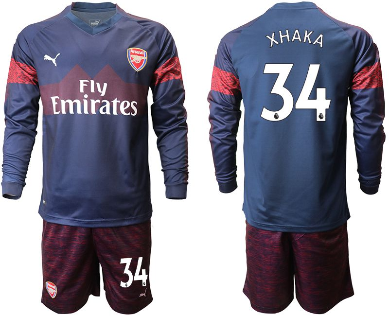 Men 2018-2019 club Arsenal away long sleeve 34 blue Soccer Jerseys