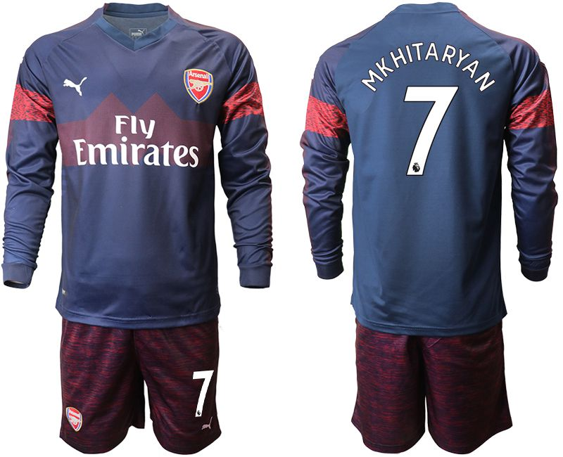 Men 2018-2019 club Arsenal away long sleeve 7 blue Soccer Jerseys