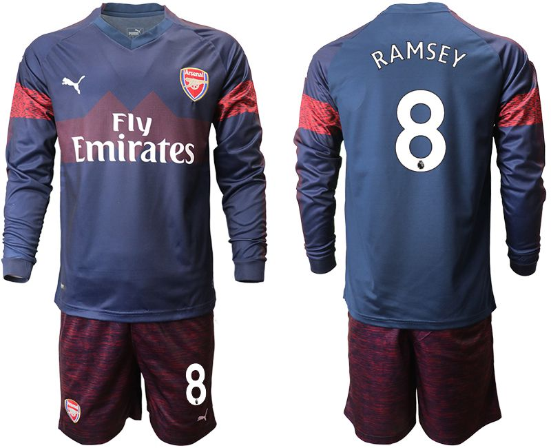 Men 2018-2019 club Arsenal away long sleeve 8 blue Soccer Jerseys