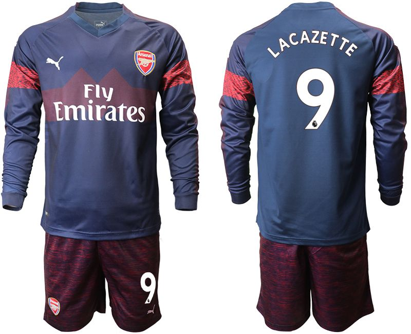 Men 2018-2019 club Arsenal away long sleeve 9 blue Soccer Jerseys
