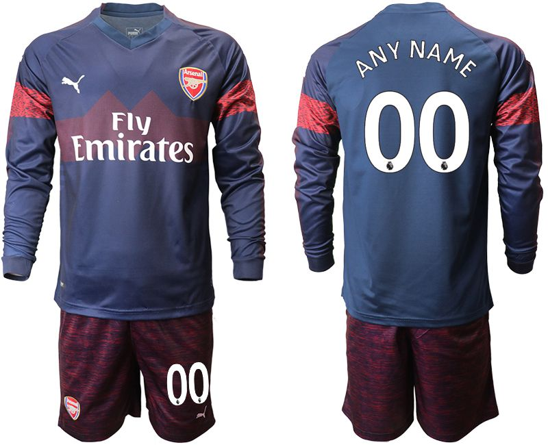 Men 2018-2019 club Arsenal away long sleeve blue customized Soccer Jerseys
