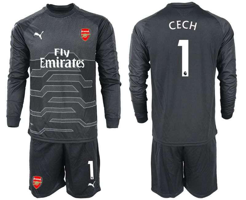 Men 2018-2019 club Arsenal black goalkeeper Long sleeve 1 Soccer Jerseys