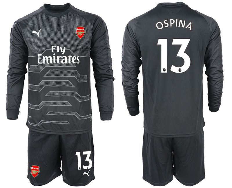 Men 2018-2019 club Arsenal black goalkeeper Long sleeve 13 Soccer Jerseys
