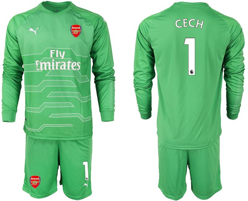 Men 2018-2019 club Arsenal green goalkeeper long sleeve 1 Soccer Jerseys