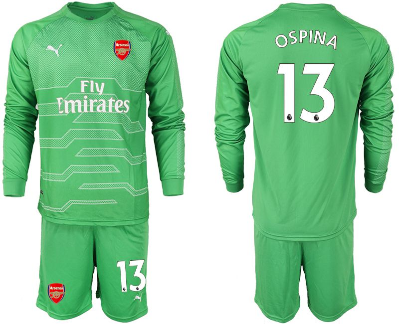 Men 2018-2019 club Arsenal green goalkeeper long sleeve 13 Soccer Jerseys