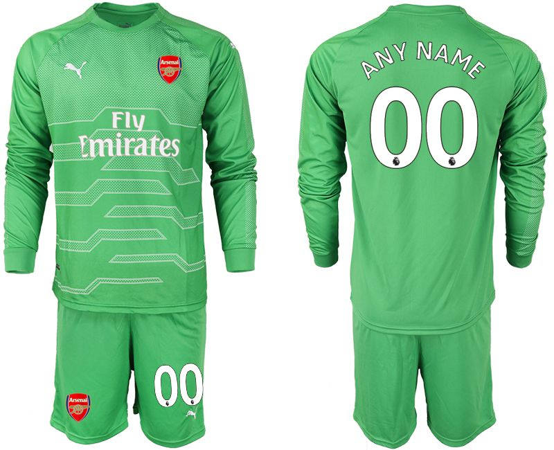 Men 2018-2019 club Arsenal green goalkeeper long sleeve customized Soccer Jerseys