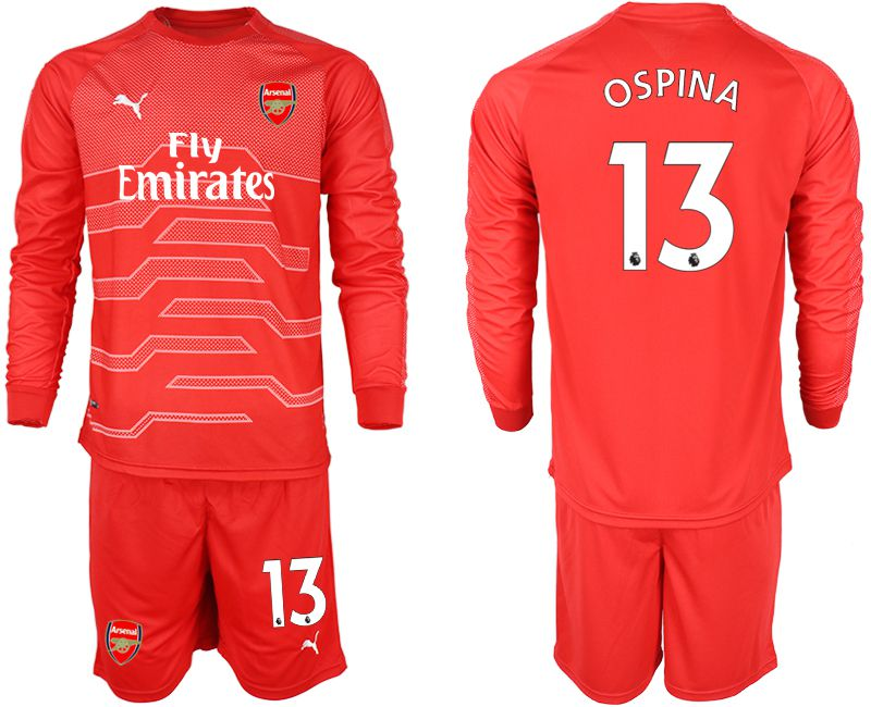 Men 2018-2019 club Arsenal red goalkeeper long sleeve 13 Soccer Jerseys