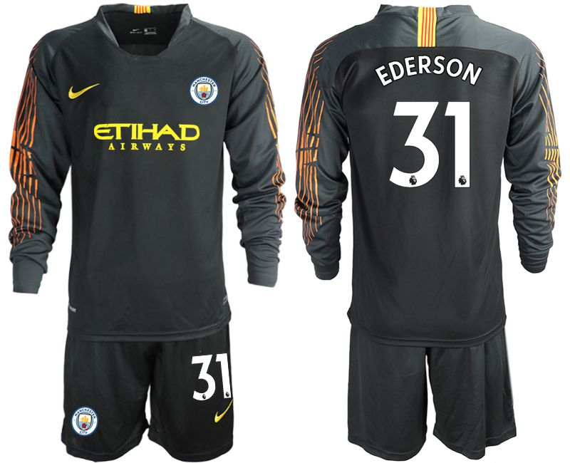 3d8321d32f4 Men 2018-2019 club Manchester City FC black long sleeve goalkeeper 31  Soccer Jerseys