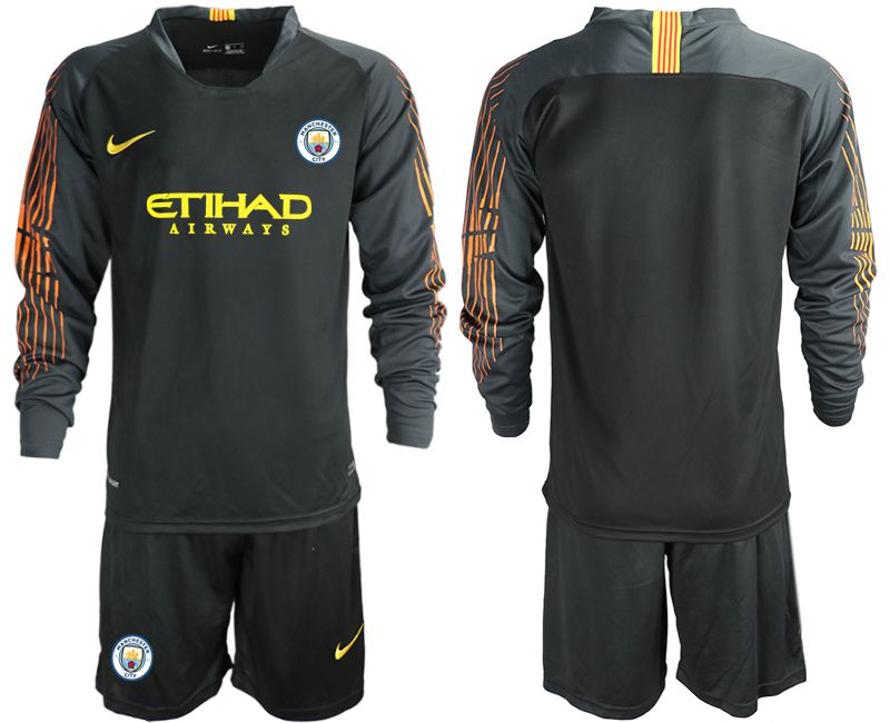 Men 2018-2019 club Manchester City FC black long sleeve goalkeeper Soccer Jerseys