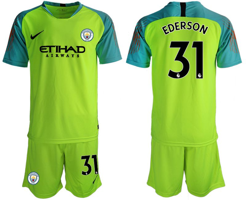 Men 2018-2019 club Manchester City FC fluorescent green goalkeeper 31 Soccer Jerseys1