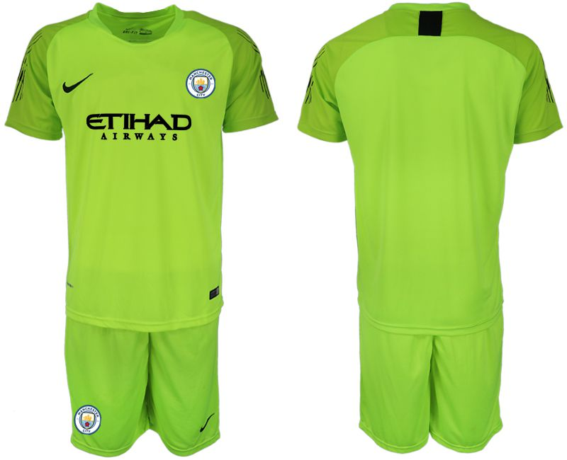 Men 2018-2019 club Manchester City FC fluorescent green goalkeeper Soccer Jerseys1