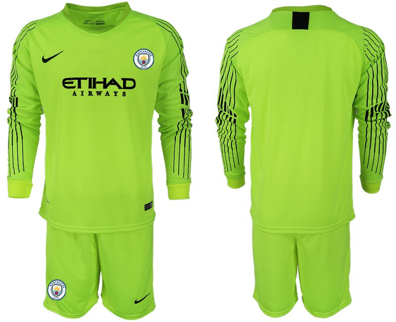 Men 2018-2019 club Manchester City FC fluorescent green long sleeve goalkeeper Soccer Jerseys