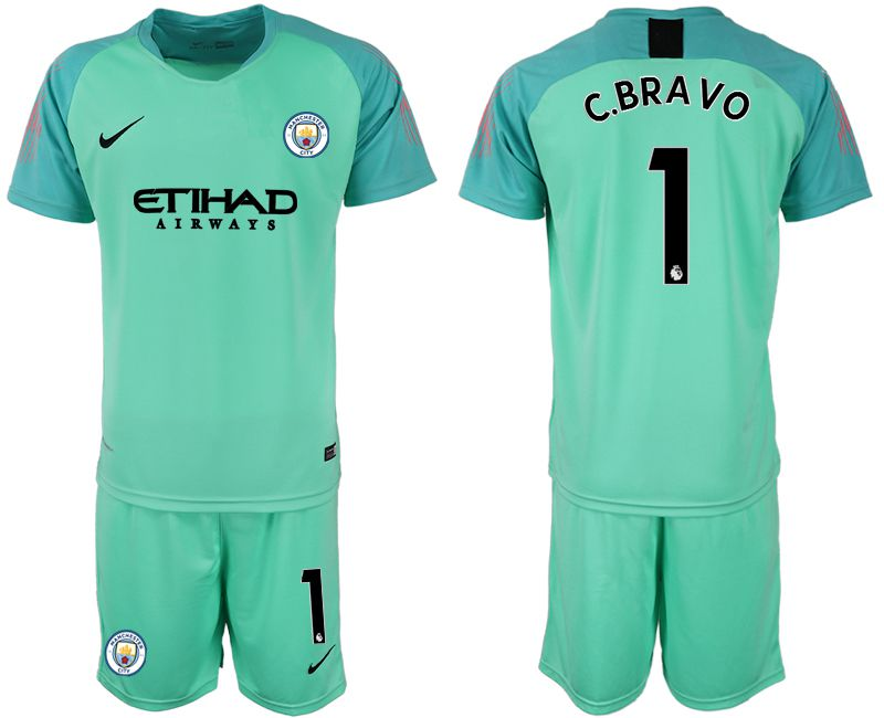 Men 2018-2019 club Manchester City FC green goalkeeper 1 Soccer Jerseys