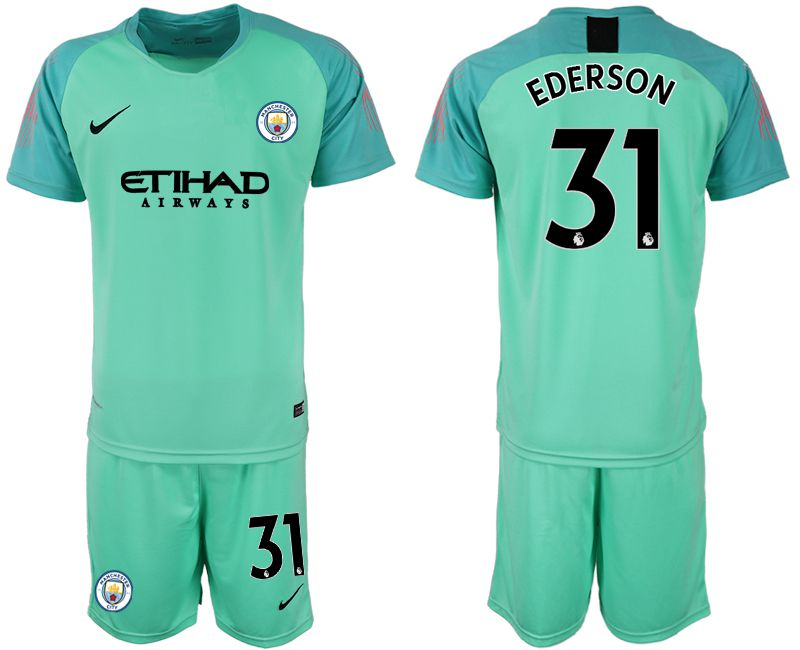 Men 2018-2019 club Manchester City FC green goalkeeper 31 Soccer Jerseys