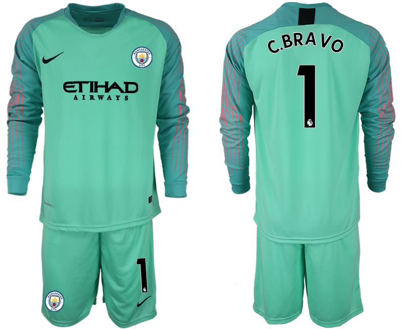 Men 2018-2019 club Manchester City FC green goalkeeper long sleeve 1 Soccer Jerseys