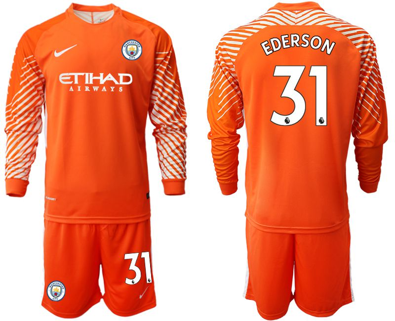 Men 2018-2019 club Manchester City FC orange goalkeeper long sleeve 31 Soccer Jerseys
